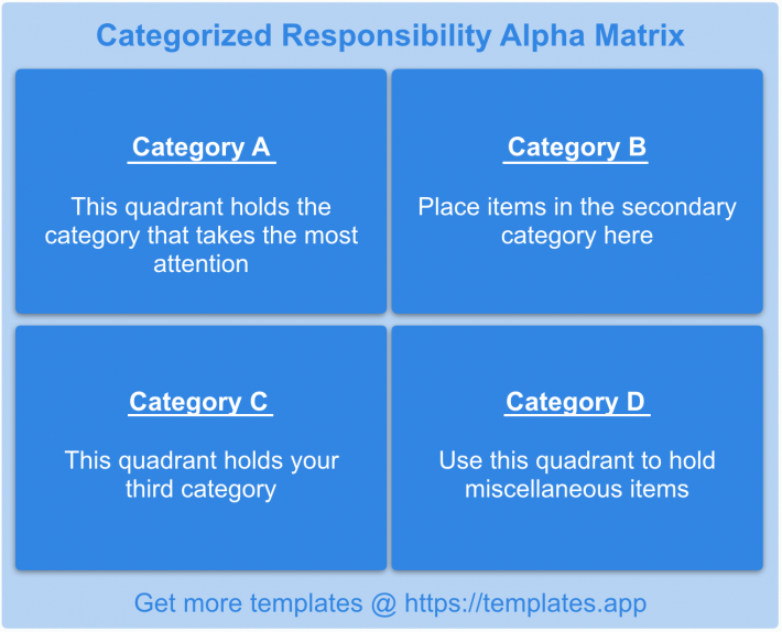 The Categorized Responsibility Alpha Matrix by templates.app