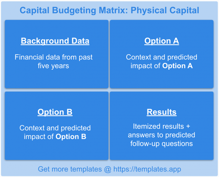 Tax Law: Capital Budgeting Matrix by templates.app