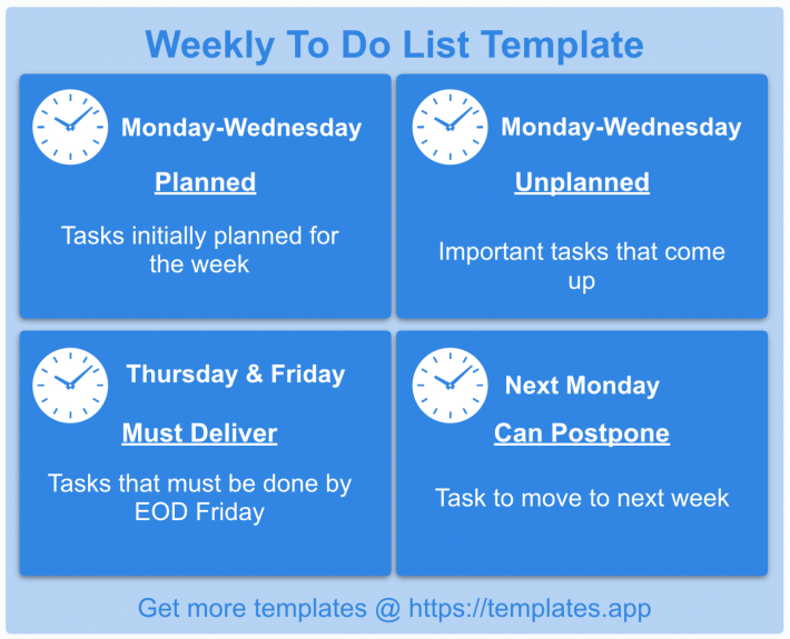 Weekly To Do List Template by Templates.app